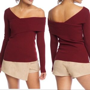Tops - Burgundy One Shoulder Cozy Sweater 💥